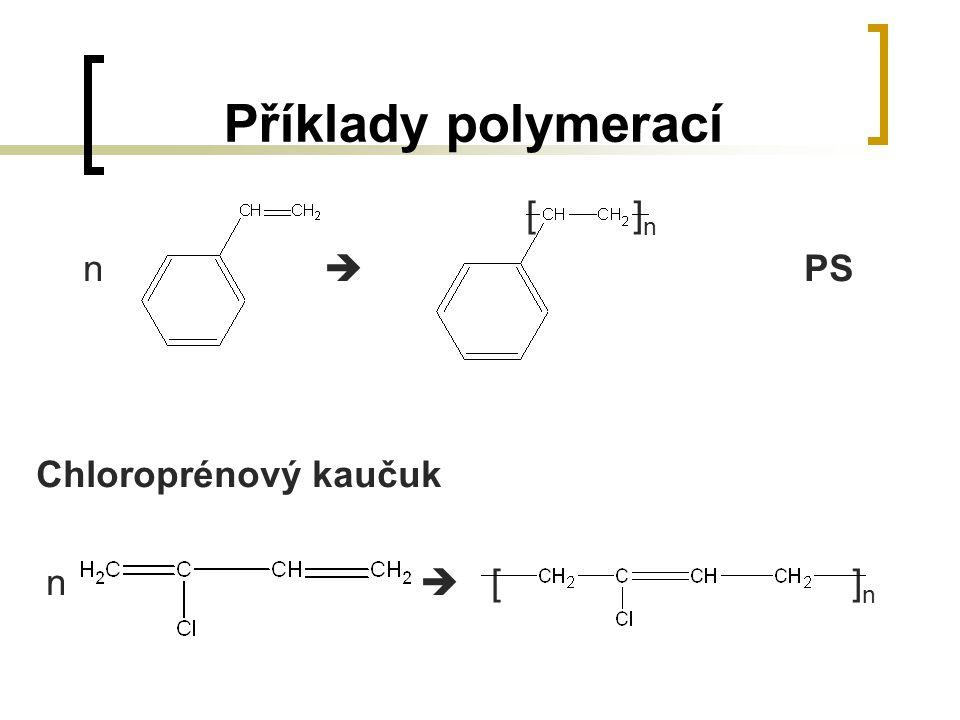 Příklady polymerací [ ]n. n  PS. Chloroprénový kaučuk.